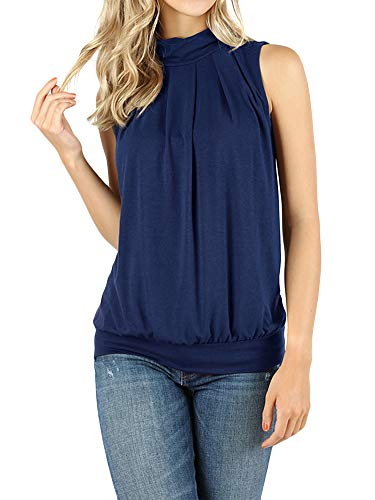 (The Lovely Women Sleeveless Mock-Turtleneck Pleated Top with Waistband (Navy, S))