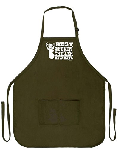 Deer Hunter Ii - Best Buckin' Griller Ever Deer Hunting Redneck Gag Gift Funny Apron for Kitchen BBQ Barbecue Cooking Baking Grilling Bacon Two Pocket Apron for Country Chef Deer Hunter Venison Apron Military Olive Green