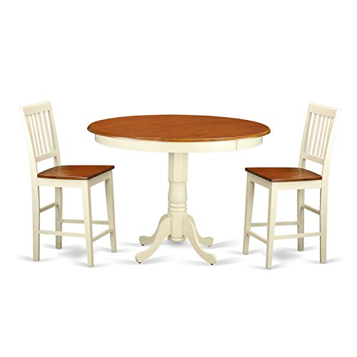 East West Furniture TRVN3-WHI-W 3 Piece Kitchen Dinette Table and 2 Counter Height Dining Chair Set