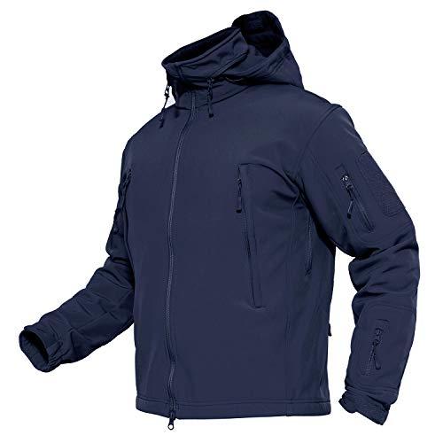 MAGCOMSEN Men's Tactical Jacket Winter Snow Ski Jacket Water Resistant Softshell Fleece Lined Winter Coats Multi-Pockets