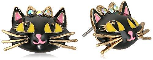 Johnson Pink Crystal Betsey - Betsey Johnson Women's Enchanted Forest Cat Stud Earrings Pink Stud Earrings