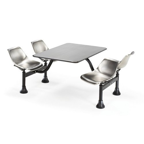 th 4 Attached Swivel Chairs and Stainless Steel Top, Stainless Steel ()