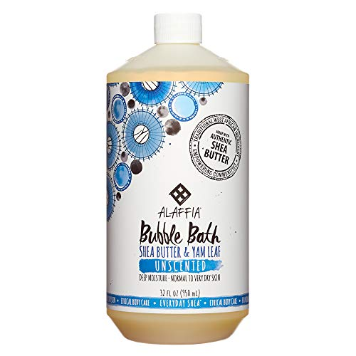 Alaffia - Everyday Shea Bubble Bath, For All Skin Types, Soothing Support for Deep Relaxation and Soft Moisturized Skin with Shea Butter and Yam Leaf, Fair Trade, Unscented, 32 Ounces