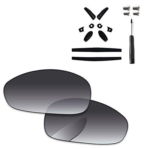 PapaViva Lenses Replacement & Rubber Kits for Oakley Juliet Grey Gradient - Polarized