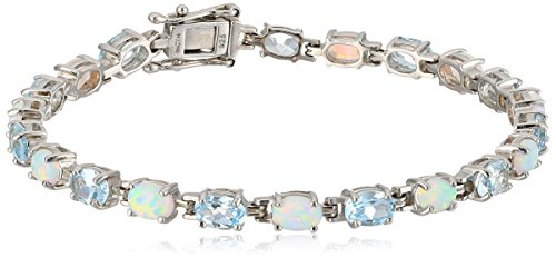 Sterling Silver Oval Cut Tennis Bracelet in Created Opal and Blue Topaz Tennis Bracelet
