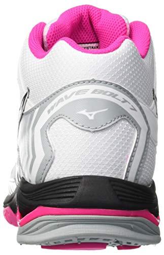 Zapatillas Mujer 7 pinkglo Multicolor Mid Mizuno black white Bolt 001 Para Wave wxYnqAEZI