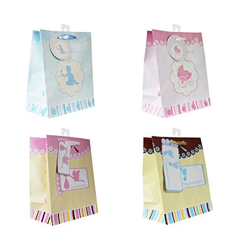 Baby Gift Bags, with glitter, 12 Piece Pack, Medium