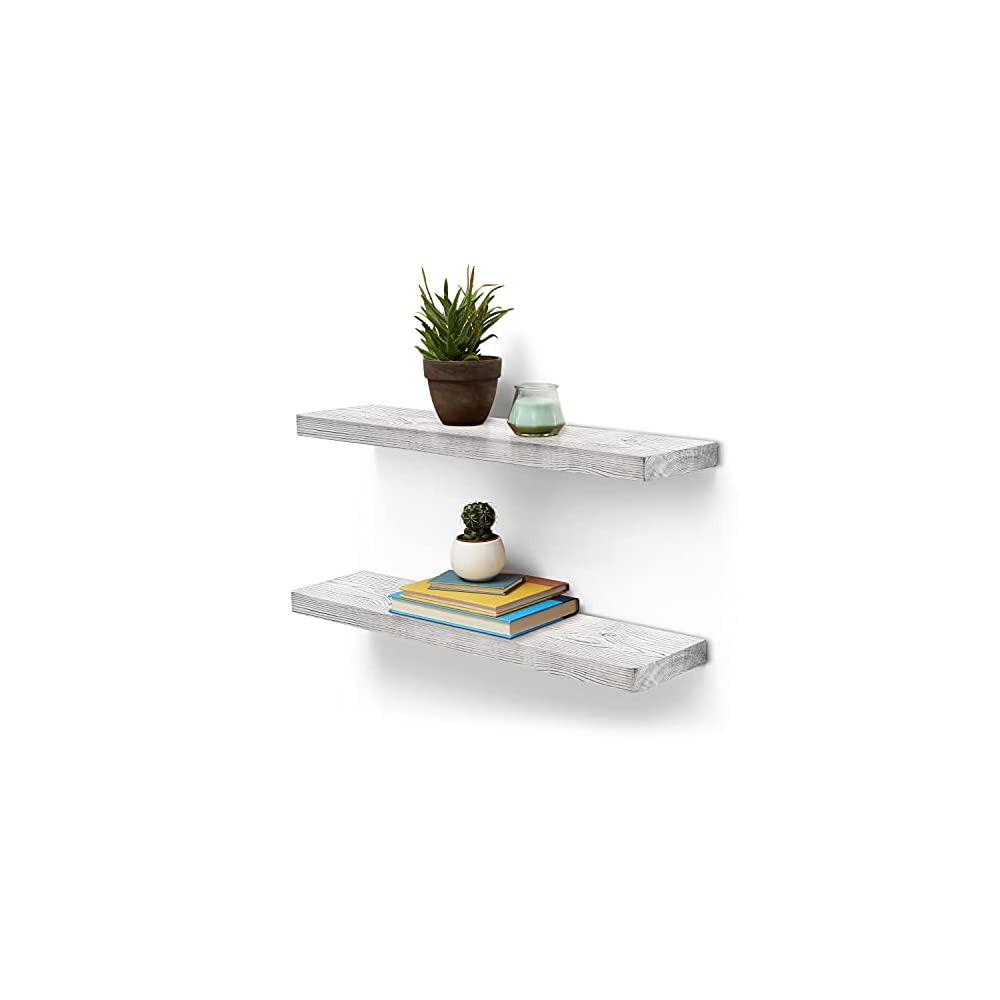 Homexxpress Rustic Wood Floating Wall Shelves - Set of 2 - Pine Wooden Hanging Shelf, Rustic Decor Shelving for Office…