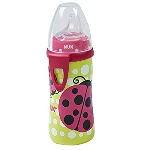 NUK Active Cup with Clip Silicone Spout 12m+ 10 Oz. (Girls/Ladybug Design)