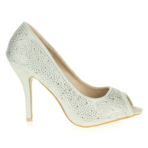 Fête De Diamante Dames Chaussures Talon mariée Brillant d'honneur Taille Soir Sandale Demoiselle Mariage Argent Prom Haut Peeptoe Femmes YnwXqBgxg