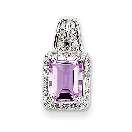 Argent Sterling diamant et améthyste carrée Rose Pendentif-JewelryWeb