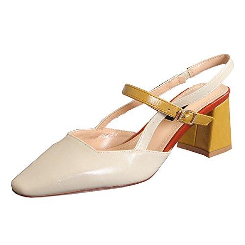 KPHY Zapatos de mujerLas Mujeres Sandalias Zapatos De Verano Verano Chino Y Francés para Colorear Raíces Cuadradas Duro con Baotou 7 Cm Zapatos De Tacon Alto. Beige
