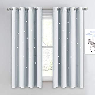 NICETOWN Room Darkening Curtain Panel - Kids Curtains Drape with Twinkle Hollow Star Laser Cut Out Design Window Treatment for Nursery/Kid's Bedroom (1 Panel,52W x 63L, Greyish White)