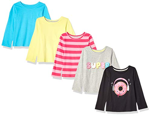 Spotted Zebra Girl's Kid 5-Pack Long-Sleeve T-Shirts, Donut Love, Large (10)