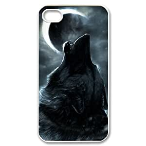 DIY Wolf and Moon Phone Case, DIY Cell Phone Case for iphone 4,4s with Wolf and Moon (Pattern-5)