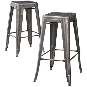 Amazon Com Carlisle Metal Bar Stool Set Of 2 Kitchen
