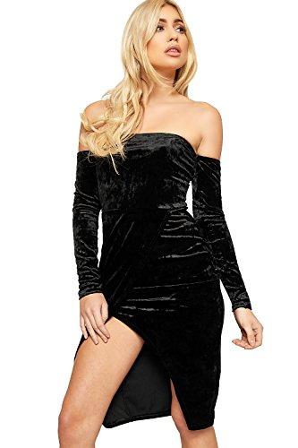Dress Lunghe Wrap Bodycon Spalle Wearall Nero Womens Schiacciato A Velluto Velluto Maniche Con vnqBAYR
