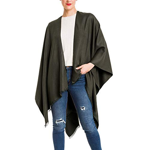 - Cardigan Poncho Cape: Women Elegant Cardigan Shawl Wrap Sweater Coat for Winter (Green)