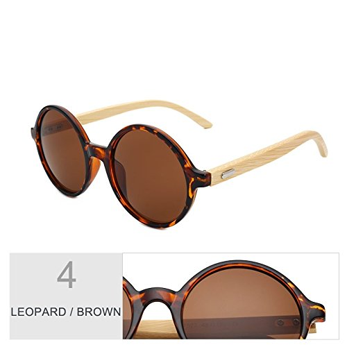 Gafas De Vintage Para Sol Redondo Brown Regreso Mujeres Madera De Mujer Gafas Sol TIANLIANG04 Azul Leopard De De De Bambú En Negro Steampunk Hombres 8TwYt0nq
