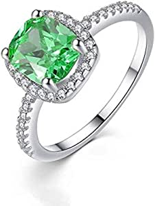 Silver plated Emerald crystal rings woman wedding Engagement ring-US7 size