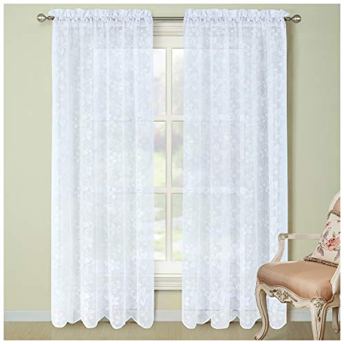 DS BATH Bauhinia Scalloped Lace Window Curtain,Rod Pocket knitting Curtains,Floral Panels for Living Room,Solid Translucent Panels for Bedroom,2pcs panel:each 54