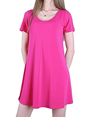 Favelem Womens Short Sleeve Comfy Flowy Loose Fit Long Tunic Top T shirt Dresses