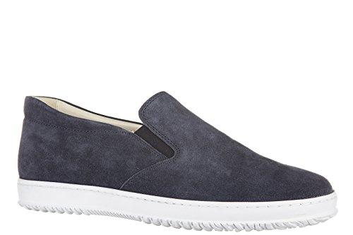 Hogan slip on homme en daim sneakers h168 blu