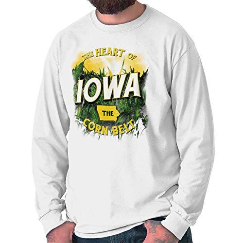 Brisco Brands Iowa Heart of The Corn Belt Farmer Souvenir Long Sleeve T Shirt White ()