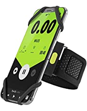"""Bone Run Tie Phone Armband Running Phone Holder for Jogging Gym Hiking Fits Phone Size 4-6.7 Inches for iPhone 13 12 11 Pro XS XR X 8 7 Plus Samsung Galaxy S9 S8 Note 10 Plus (Black / 15.7-21.4"""")"""