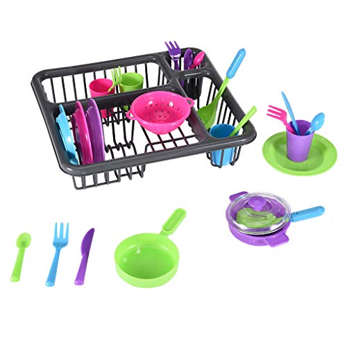 Kids Kitchen Pretend Play Dishes Playset, Kitchen Wash & Dry Tableware Dish Rack Toy with Drainer Toddler Dishes and Utensils Dinnerware Pretend Play Set (As Show)
