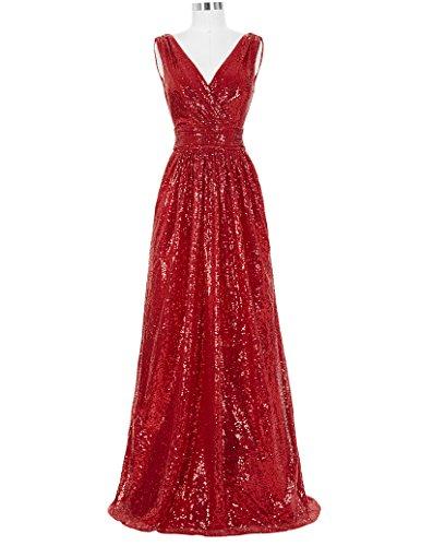 Kate Kasin Red Women's Elegant Long Pageant Dress Sequins Bridesmaid Dresses Size USA16 ()