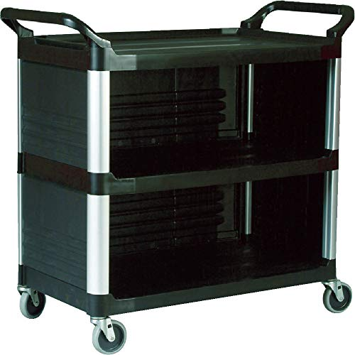 (Rubbermaid Commercial 4093BLA Xtra Utility Cart, 300-lb Cap, Three-Shelf, 20w x 40-5/8d x 37-4/5h, Black)