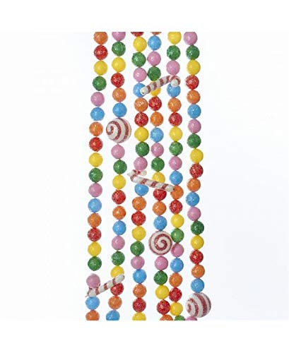 Candy Christmas Tree Decorations - Kurt Adler PINK, BLUE, ORANGE, RED, YELLOW AND GREEN BALL AND CANDY CANE GARLAND
