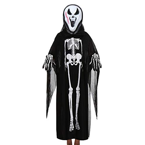 Gotian Cloak + Mask + Gloves Outfits Set, Toddler Boys Girls Kids Halloween Cosplay Costume Ghost Clothes (G) for $<!--$7.68-->