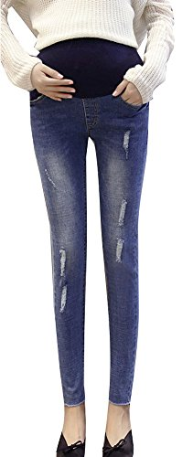 Plaid&Plain Women's Secret Fit Belly Skinny Leg Maternity Jeans Pregnancy Pants Blue-High L