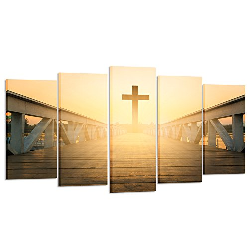 Kreative Arts - Canvas Prints Wall Art Christian Cross Picture Printed on Canvas for Home Decoration Stretched Gallery Canvas Wrap Giclee Ready to Hang (Large Size 60x32inch) by Kreative Arts