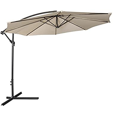 Giantex 10ft Outdoor Patio Sun Shade Umbrella Hanging Offset Crank W/ Corss Base Garden Beige
