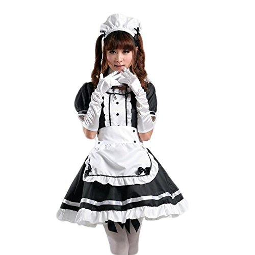 AvaCostume Anime Cosplay Lolita Maid Halloween Fancy Dress Costumes Outfit, XXL, Black -