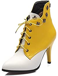 Women's Lace Up Pu Pointed Closed Toe Spikes Stilettos Assorted Color Boots