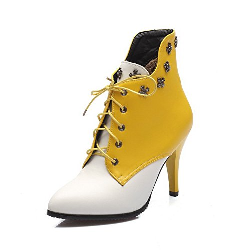AllhqFashion Women's Pu Spikes Stilettos Pointed Closed Toe Assorted Color Lace Up Boots, Yellow, 43 ()