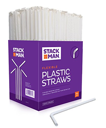 Red Summer Stack (Stack Man Plastic Flexible Straws Individually Wrapped 7 3/4 Inches, 400 Straws, White)