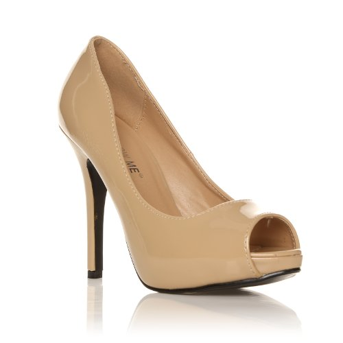 TIA Nude Patent PU Leather Stiletto High Heel Platform Peep Toe Shoes kkWSA34u7l