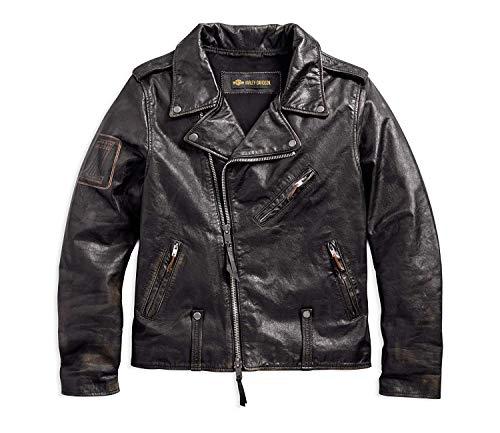 Harley-Davidson Men's Master Distressed Slim Fit Leather Biker Jacket, Black (Leather Slim Jacket)