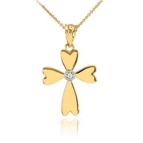 Collier Femme Pendentif 10 Ct Or Jaune Solitaire Diamant Cœur Croix Charme (Livré avec une 45cm Chaîne)