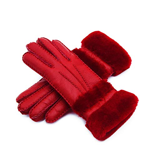 Special Women Warm Woolen Mittens Women Gloves Real Leather Wool Fur Gloves Lovely Girl Sheepskin Leather Gloves for Lady,red,Long 27 Wide ()
