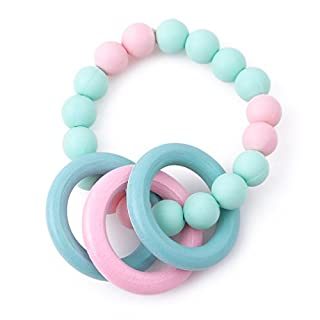 GUAngqi Handmade Baby Teething Clip Silicone Wooden Crochet beads,Pink green