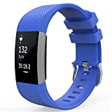 """MoKo Fitbit Charge 2 Band, Soft Silicone Adjustable Replacement Sport Strap Band for Fitbit Charge 2 Heart Rate + Fitness Wristband, Wrist Length 5.70""""-8.26"""" (145mm-210mm), Royal BLUE"""