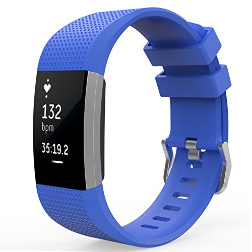 MoKo Fitbit Charge 2 Band, Soft Silicone Adjustable Replacement Sport Strap Band for Fitbit Charge 2 Heart Rate + Fitness Wristband, Wrist Length 5.70-8.26 (145mm-210mm), Royal BLUE