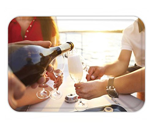 Beshowere Doormat happy friends with glasses of champagne on yacht vacation travel sea and friendship (Grande Dame Champagne)