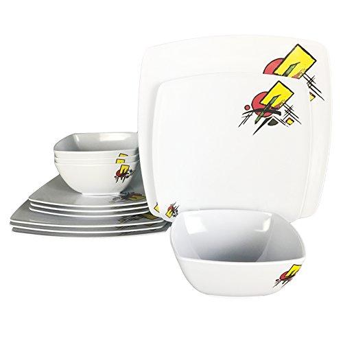 Melamine Dinner Plates Set - 12Pcs Square Dinnerware Set, Abstract Design